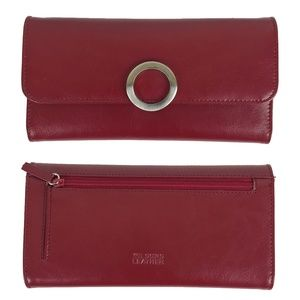Wilsons Leather Dark Cordovan Red Trifold Wallet